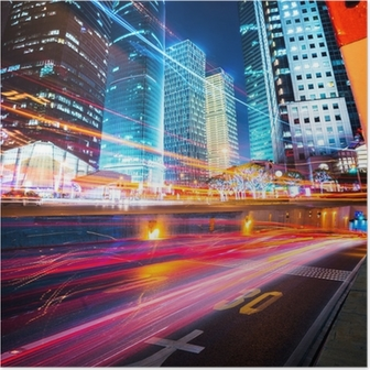 night scene of modern city Poster