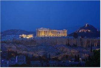 Night view of Acropolis, Athens, Greece Poster