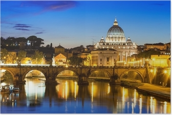 Night view of Basilica St Peter and river Tiber in Rome in Italy Poster