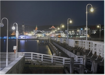 Night view of Molo pier and Sopot city in Poland Poster