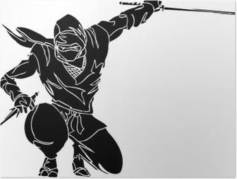 Poster Ninja combattant - vecteur EPS illustration. Toutes les vinyl-ready.