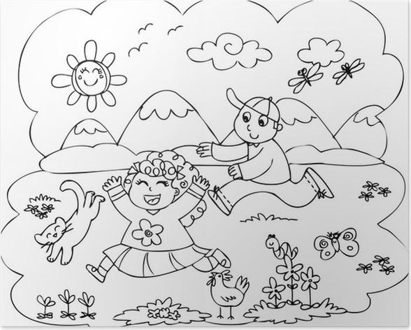 Póster Niños para colorear jugando en el campo • Pixers® - Vivimos ...