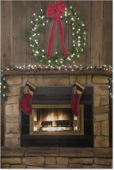Poster Noël âtre de la cheminée avec la guirlande et des bas