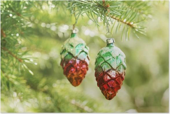 Poster Noël nostalgique décorations pour arbres de - Fêtes internationales