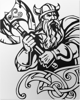 Nordic viking - black white vector illustration. Vinyl-ready. Poster