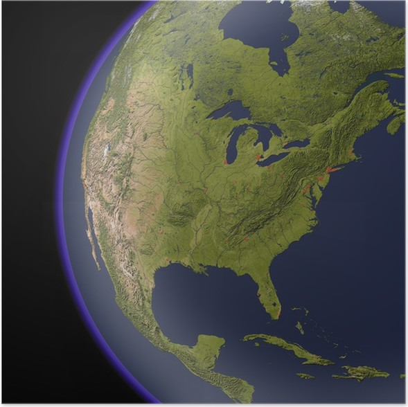 North America from space, shaded relief map. Poster • Pixers® • We ...