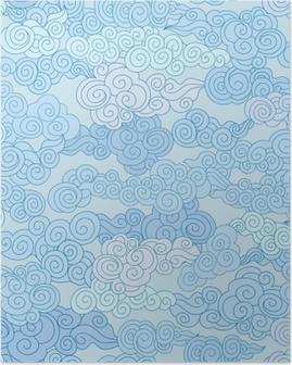 Poster Nuage abstrait tourbillon formes carrelé géométrique dans le style chinois ciel ornemental