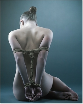 Nude woman with shibari in studio Poster