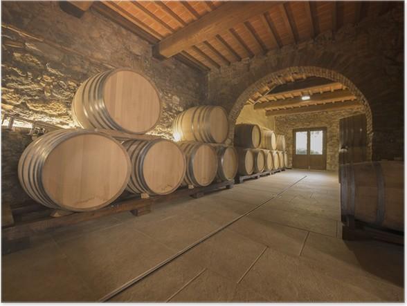 oak wine barrels in winery cellar Poster Pixers We live to change