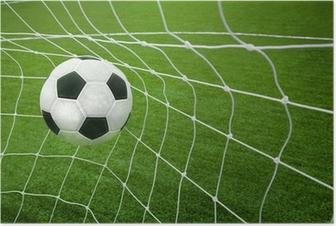 Poster Objectif. un ballon de soccer dans un filet.