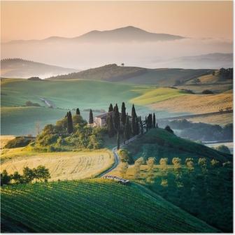 Poster Ochtend in Toscane, landschap en de heuvels
