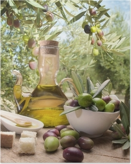 Oil and olives Poster