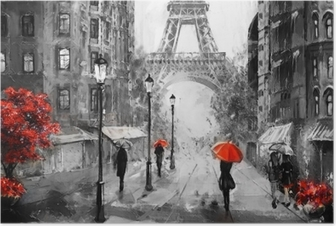 Oil Painting Paris European City Landscape France Wallpaper Eiffel Tower Black White And Red Modern Art Couple Under An Umbrella On Street Poster Pixers We Live To Change