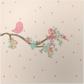 Poster Oiseau sur branche fleurie