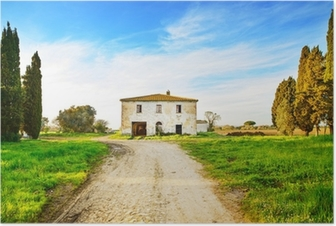 Old abandoned rural house, road and trees on sunset.Tuscany, Ita Poster