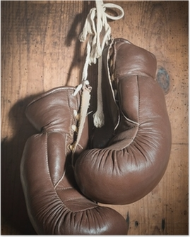 old Boxing Gloves, hanging on wooden wall Poster