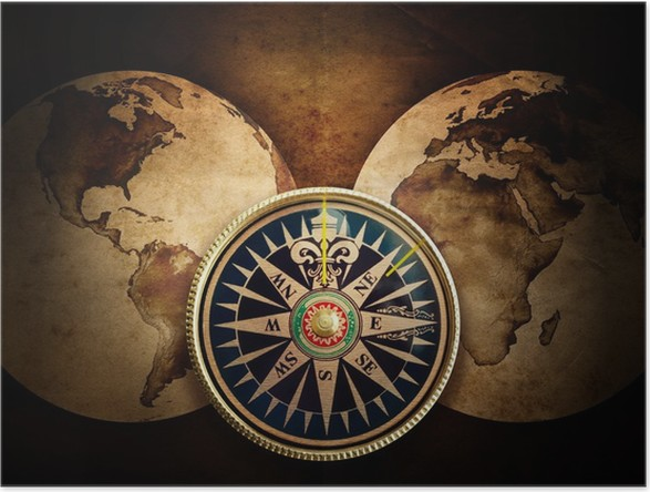 Old compass and world map poster pixers we live to change old compass and world map poster themes gumiabroncs Images