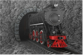 Old locomotive in tunnel Poster