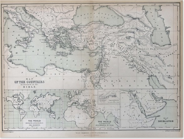 Old map of countries mentioned in the bible 1870 poster pixers old map of countries mentioned in the bible 1870 poster gumiabroncs Gallery