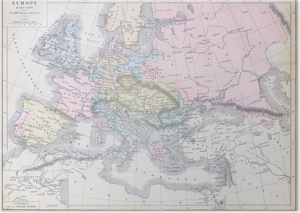 Old map of Europe 1815 - 1866. Published in 1883 Poster • Pixers ...