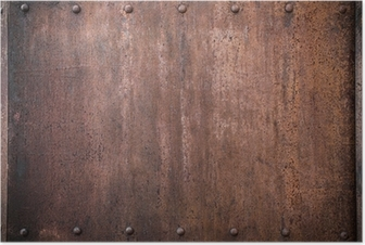 old metal background with rivets Poster
