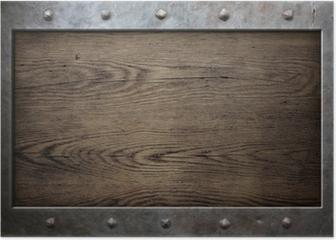 old metal frame over wooden background Poster