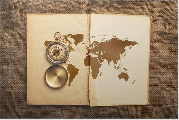Old open book with compass and world map poster pixers we live old open book with compass and world map poster public buildings gumiabroncs Images