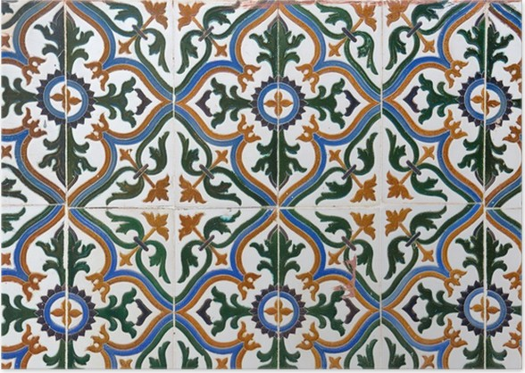 Old Spanish Style Ceramic Tiles Wall Decoration Poster