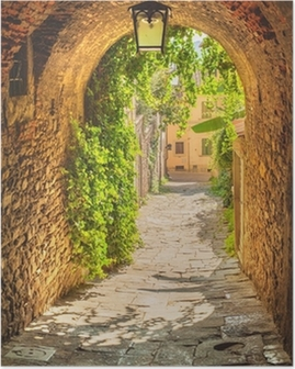 Old streets of a medieval Tuscan town. Poster