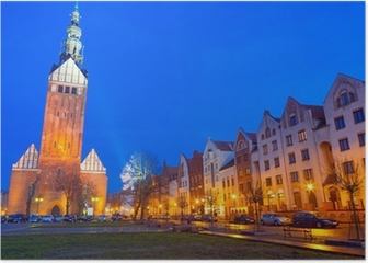Old town of Elblag at night in Poland Poster