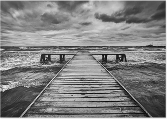 Old wooden jetty during storm on the sea. Dramatic sky Poster