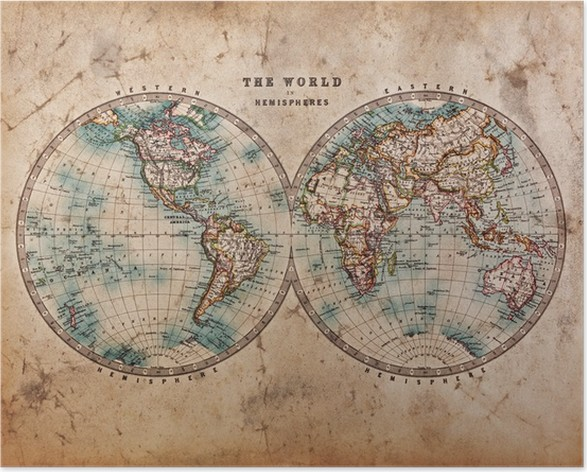 Old world map in hemispheres poster pixers we live to change old world map in hemispheres poster themes gumiabroncs Images