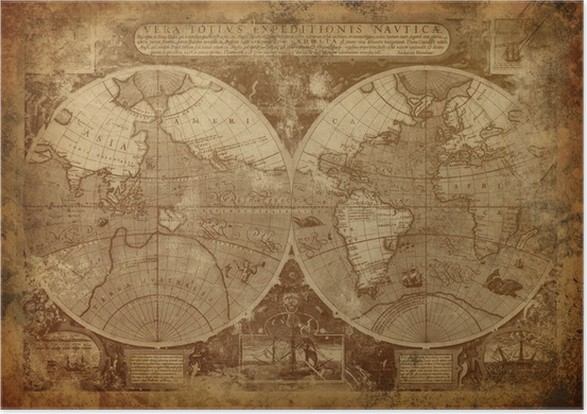 Old world map poster pixers we live to change old world map poster themes gumiabroncs Images