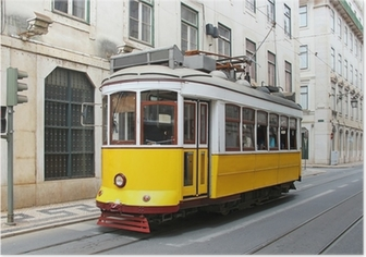 Old yellow Lisbon tram, Portugal Poster