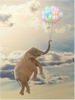 Poster Olifant vliegen met ballon