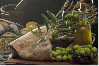 olives and oil Poster