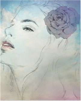 Poster Oman portrait aquarelle .abstract .fashion fond