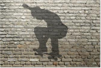 Poster Ombre de skate-boarder sur mur de briques