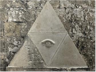 Poster Oog van Voorzienigheid symbool geëtst in kalksteen