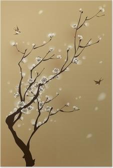 Poster Oosterse stijl schilderen, pruim bloesem in het voorjaar