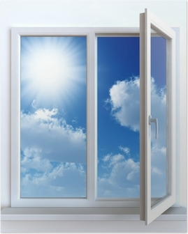 Open window against a white wall and the cloudy sky and sun Poster