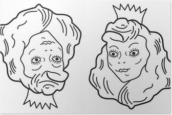 Poster Optische illusie. Jonge mooie prinses of een oude lelijke vrouw?
