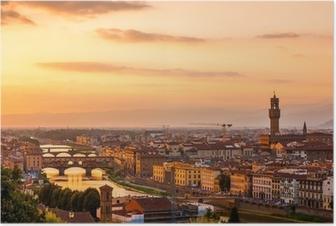 Poster Or coucher de soleil sur la rivière Arno, à Florence, Italie