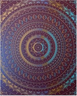 Poster Or Mandala. Motif décoratif indien.
