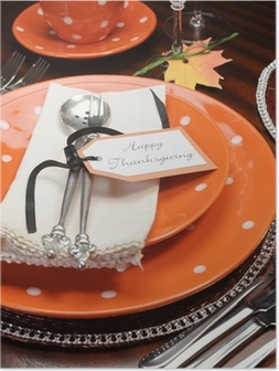 Orange polka dot Thanksgiving table place setting close up Poster