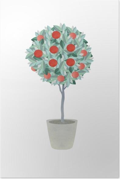 Poster Orange tree - Yulia - Hedendaagse kunstenaars