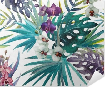 Orchid hibiscus leaves pattern, watercolor Poster