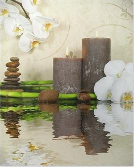 Poster Orchidée blanche et de bambou avec des bougies et des pierres