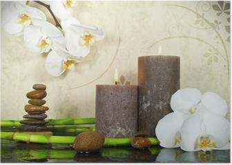Orchidee weiß mit Bambus und Kerzen und Steinen Poster