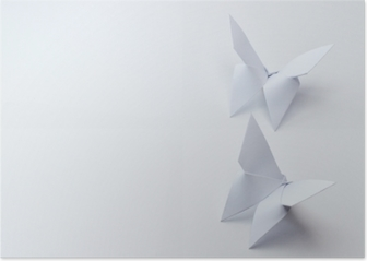 origami butterflies on white background Poster